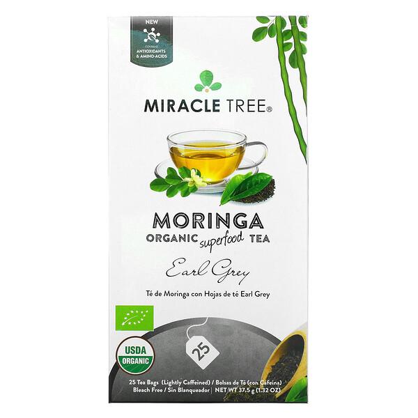 Moringa Organic Superfood Tea, Earl Grey, 25 Tea Bags, 1.32 oz (37.5 g)