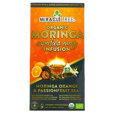 Купить Miracle Tree Organic Moringa Superfood Energy Infusion, Moringa Orange & Passionfruit Tea, 1.01 oz (28.8 g)