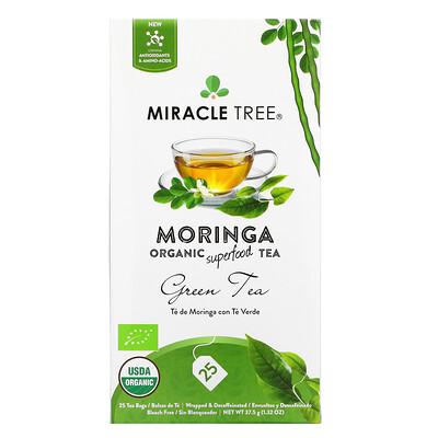 Купить Miracle Tree Moringa Organic Superfood Tea, Green Tea, Decaffeinated, 25 Tea Bags, 1.32 oz (37.5 g)