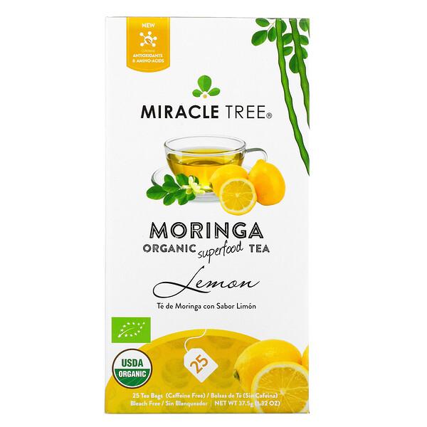 Moringa Organic Superfood Tea, Lemon, Caffeine Free, 25 Tea Bags, 1.32 oz (37.5 g)