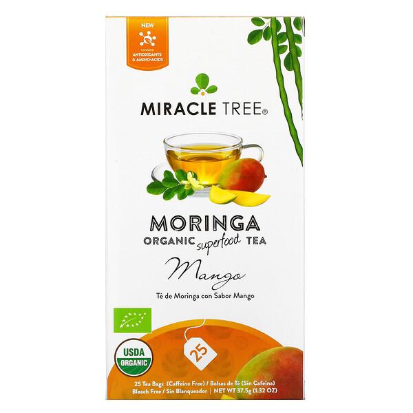 Moringa Organic Superfood Tea, Mango, Caffeine Free, 25 Tea Bags, 1.23 oz (37.5 g)