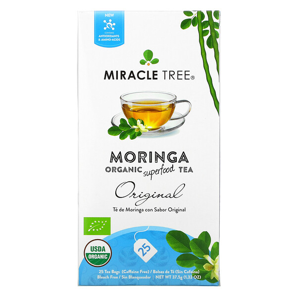 Miracle Tree, Moringa Organic Superfood Tea, Original, Caffeine Free, 25 Tea Bags, 1.32 oz (37.5 g)