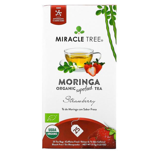 Moringa Organic Superfood Tea, Strawberry, Caffeine Free, 25 Tea Bags, 1.32 oz (37.5 g)