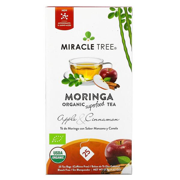Moringa Organic Superfood Tea, Apple & Cinnamon, Caffeine Free, 25 Tea Bags, 1.32 oz (37.5 g)