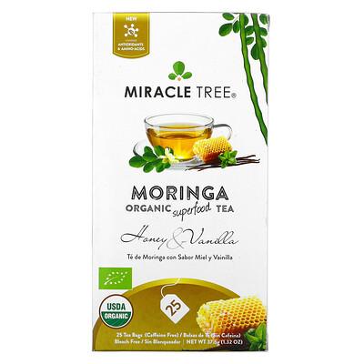 Купить Miracle Tree Moringa Organic Superfood Tea, Honey & Vanilla, Caffeine Free, 25 Tea Bags, 1.32 oz (37.5 g)