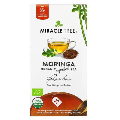 Купить Miracle Tree Moringa Organic Superfood Tea, Rooibos, Caffeine Free, 25 Tea Bags, 1.32 oz (37.5 g)