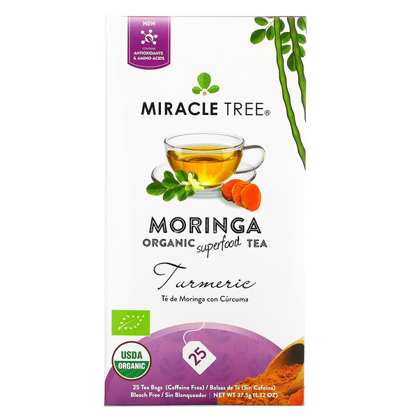 Moringa Organic Superfood Tea, Turmeric, Caffeine Free, 25 Tea Bags, 1.32 oz (37.5 g)