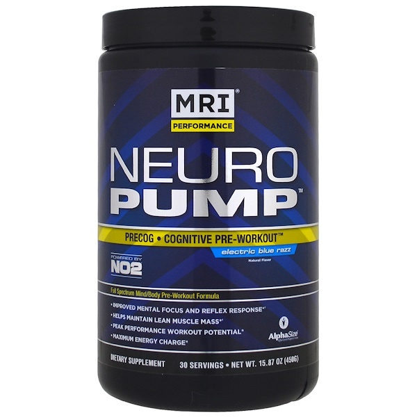 MRI, Neuro Pump, Precog, Cognitive Pre-Workout, Electric Blue Razz, 15.87 oz (450 g) (Discontinued Item)
