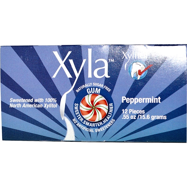 Xyla, Xyla, Naturally Sugar-Free Gum, Peppermint, 12 Pieces, .55 oz (15.6 g) (Discontinued Item)