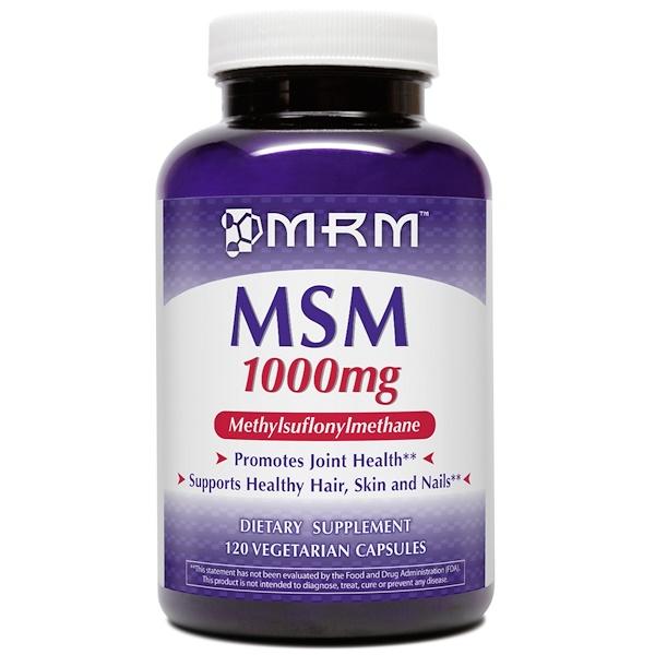 MRM, MSM、1000 mg、ベジキャップ使用 120 錠