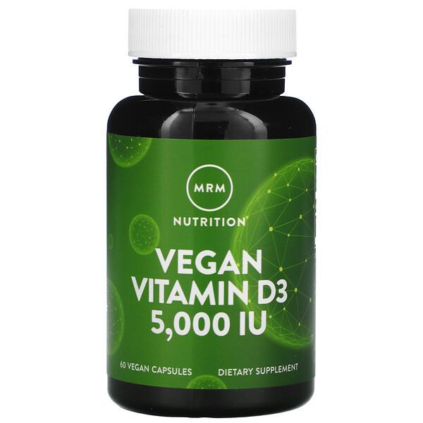 Веганский витамин D3, 5000 МЕ, 60 веганских капсул