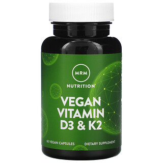 MRM, Vegan Vitamin D3 & K2, veganes VitaminD3 und K2, 62,5mcg, (2.500IU), 60vegane Kapseln