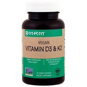 MRM, Витамины D3 и K2 для веганов, 60 растительных капсул
