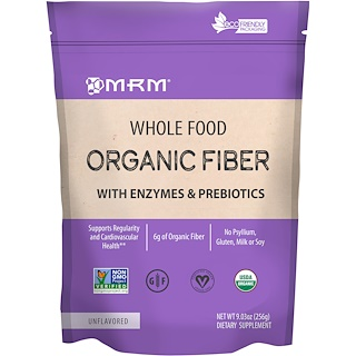 MRM, Whole Food, Organic Fiber with Enzymes and Prebiotics, Unflavored, 9.3 oz (256 g)