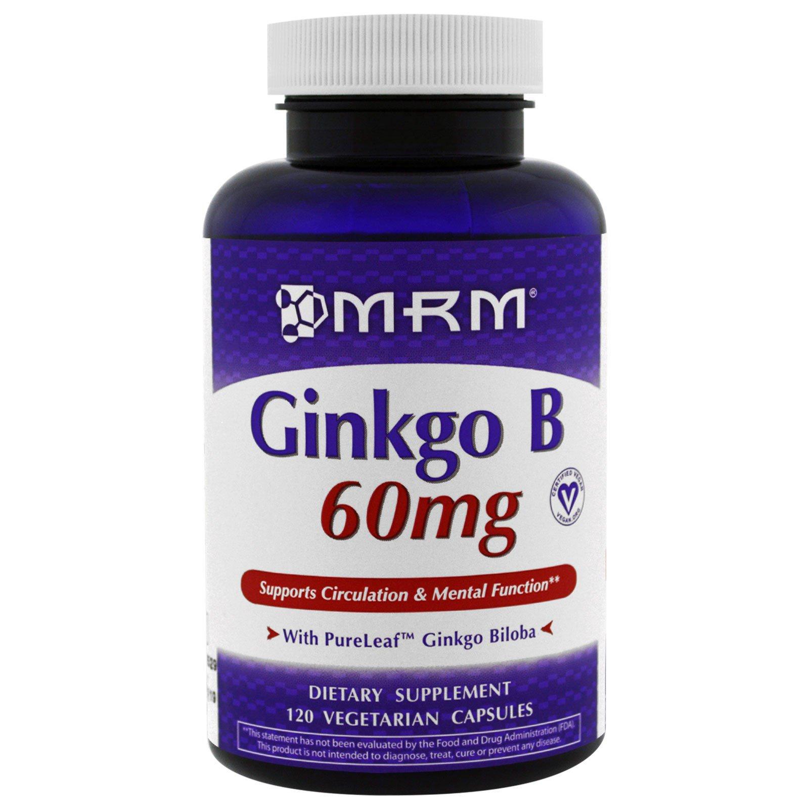 MRM, Гинкго билоба, 60 мг, 120 вегетарианских капсул