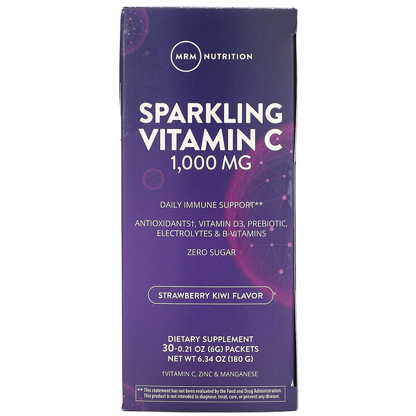 Sparkling Vitamin C, Strawberry Kiwi, 1,000 mg, 30 Packets, 0.21 oz (6 g) Each
