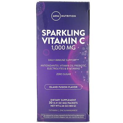 Купить MRM Sparkling Vitamin C, Island Fusion, 1, 000 mg, 30 Packets, 0.21 oz (6 g)
