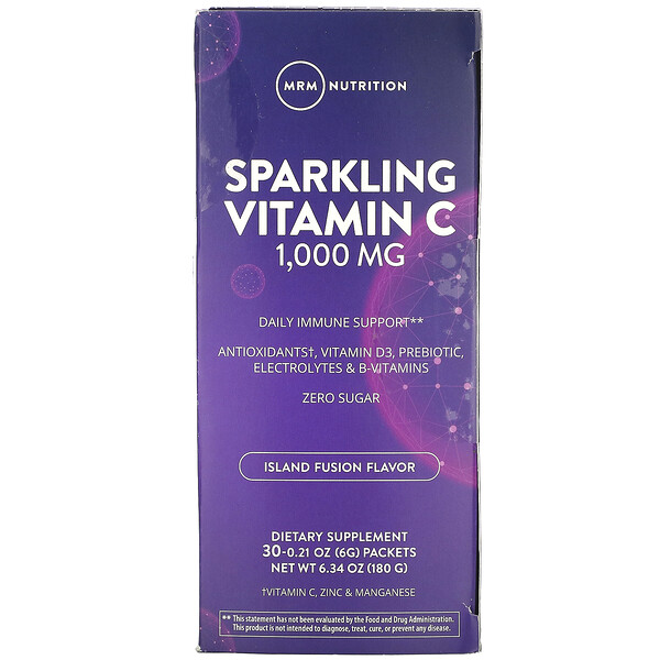Sparkling Vitamin C, Island Fusion, 1,000 mg, 30 Packets, 0.21 oz (6 g)