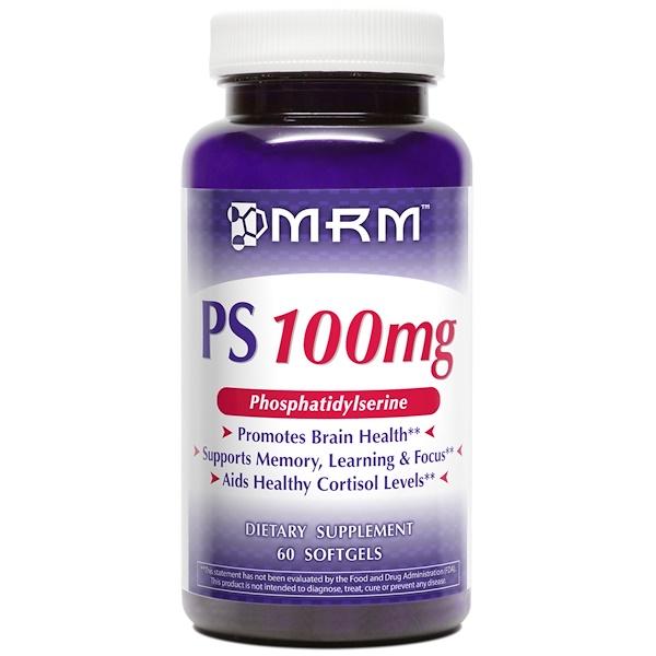 MRM, PS, ホスファチジルセリン, 100 mg, 60 ソフトジェル