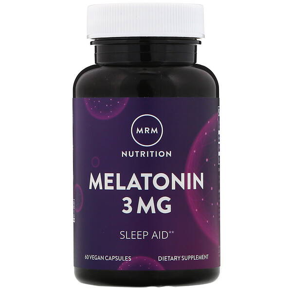 MRM, Nutrition, Melatonin, 3 mg, 60 Vegan Capsules