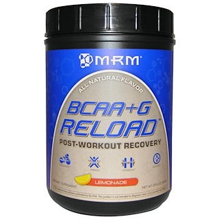 MRM, BCAA + Gリロード, 筋トレ 運動後の回復, レモネード, 29.6 oz (840 g)