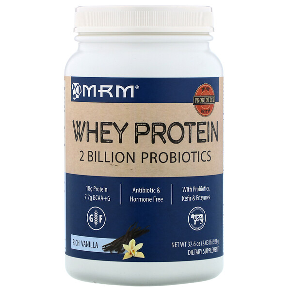 MRM, Whey Protein, 2 Billion Probiotics, Rich Vanilla, 32.6 oz (923 g)