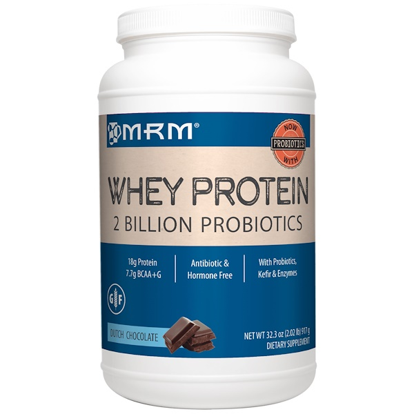 MRM, Natural Whey Protein, 2 Billion Probiotics, Dutch Chocolate, 32.3 oz (917 g)