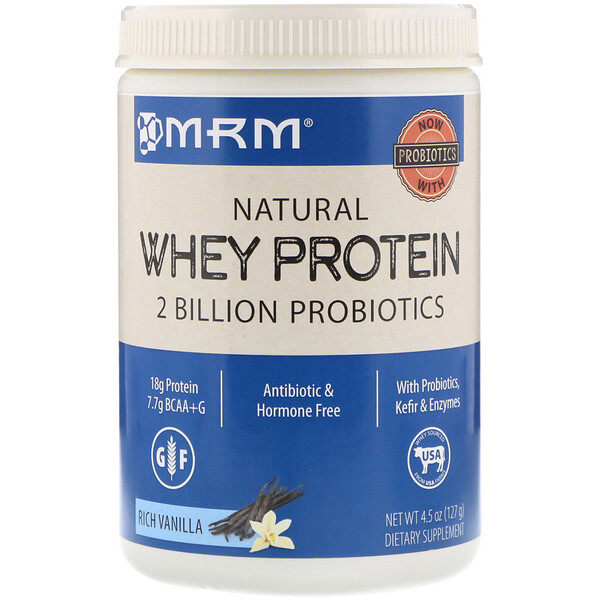 Natural Whey Protein, Rich Vanilla, 4.5 oz (127 g)
