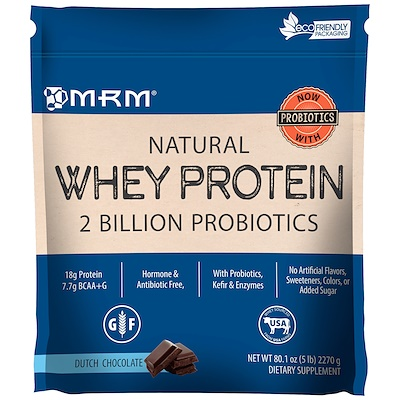 Natural Whey Protein, 2 Billion Probiotics, Dutch Chocolate, 5 lbs (2270 g)