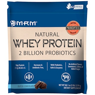 MRM, Natural Whey Protein, 2 Billion Probiotics, Dutch Chocolate, 5 lbs (2270 g)