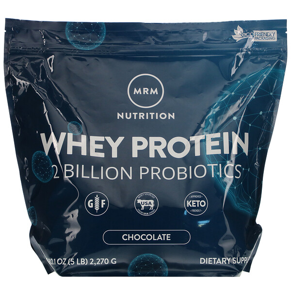 MRM, Whey Protein, 2 Billion Probiotics, Chocolate, 5 lb (2,270 g)