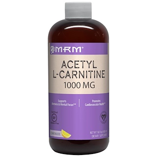 MRM, Acetyl-L-Carnitin, Limonadenaroma, 1000 mg, 480 ml (16 fl oz)
