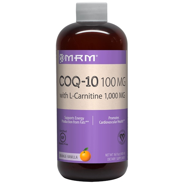 MRM, 100毫克的輔酶Q-10與1000毫克的左旋肉鹼,天然桔子香味,16液體盎司(480毫升)