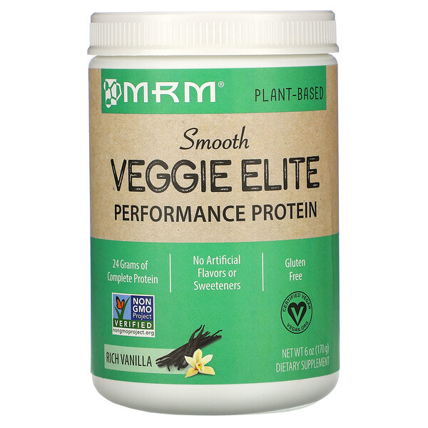Smooth Veggie Elite Performance Protein, Rich Vanilla, 6 oz (170 g)