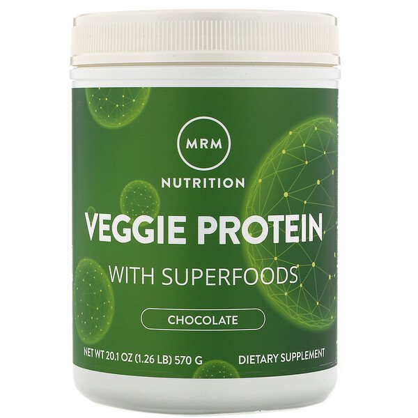 MRM, Nutrition, Veggie Protein with Superfoods, Chocolate, 1.26 lbs (570 g)