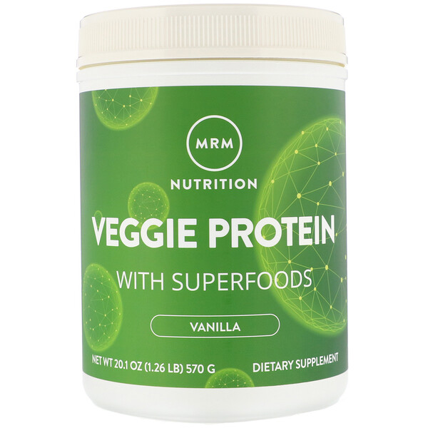 MRM, Nutrition, Veggie Protein with Superfoods, Vanilla, 1.26 lb (570 g)