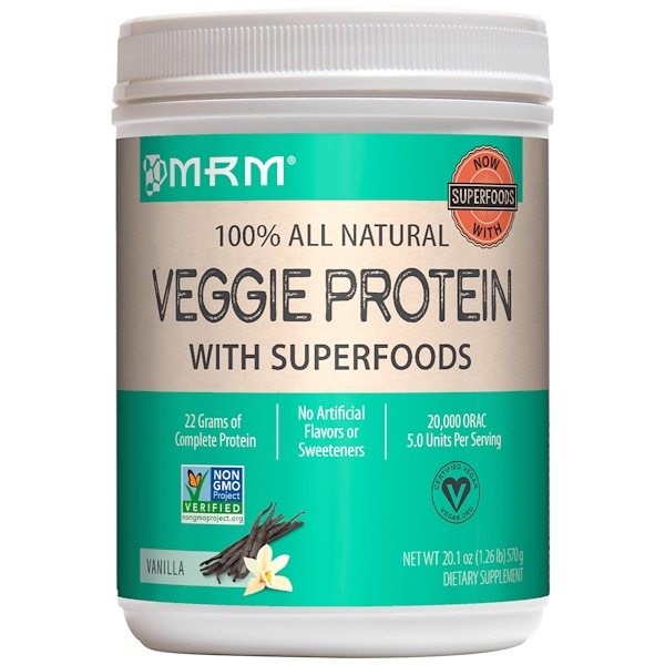 MRM, 100% All Natural Veggie Protein with Superfoods, Vanilla, 1.25 lbs (570 g)