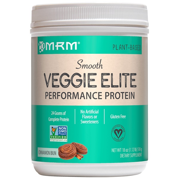 MRM, Smooth Veggie Elite, Performance Protein, Cinnamon Bun, 18 oz (510 g) (Discontinued Item)