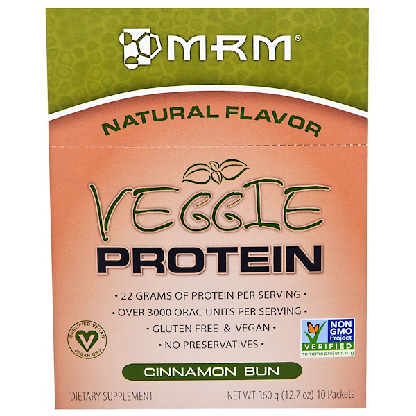 MRM, Veggie Protein, Cinnamon Bun, 10 Packets, 12.7 oz (360 g) (Discontinued Item)