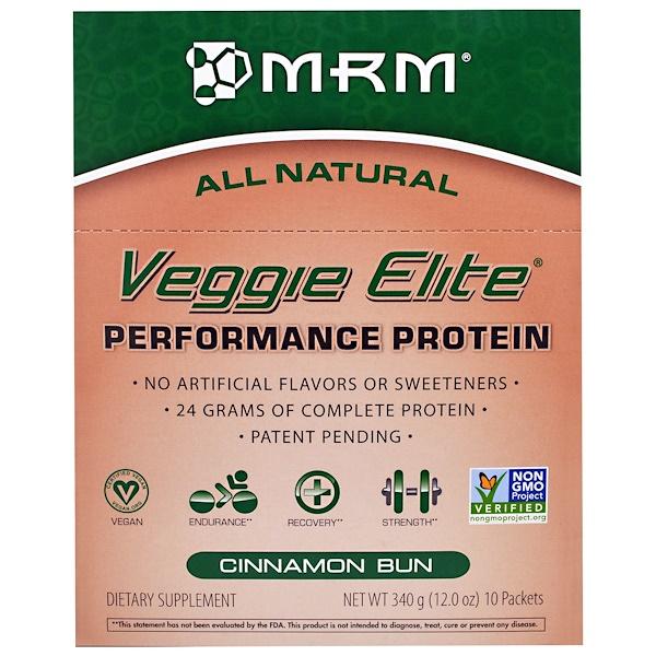 """MRM, """"Элитные овощи"""", растительный белковый комплекс для высокой производительности со вкусом плюшек с корицей, 10 пакетов, 12,0 унции (340 г) (Discontinued Item)"""