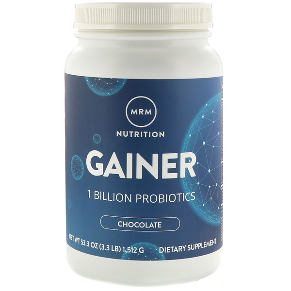 Nutrition, Gainer with1 Billion Probiotics, Chocolate, 3.3 lb (1,512 g)