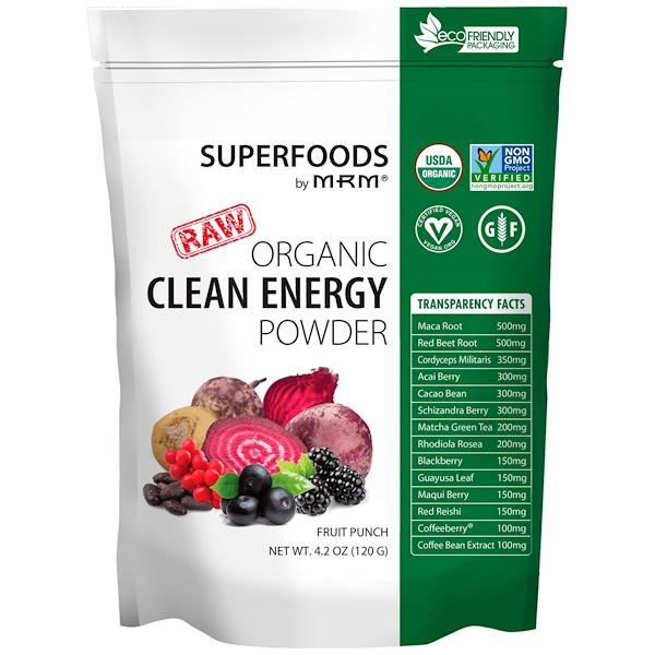 Organic Clean Energy Powder, Fruit Punch, 4.2 oz (120 g)