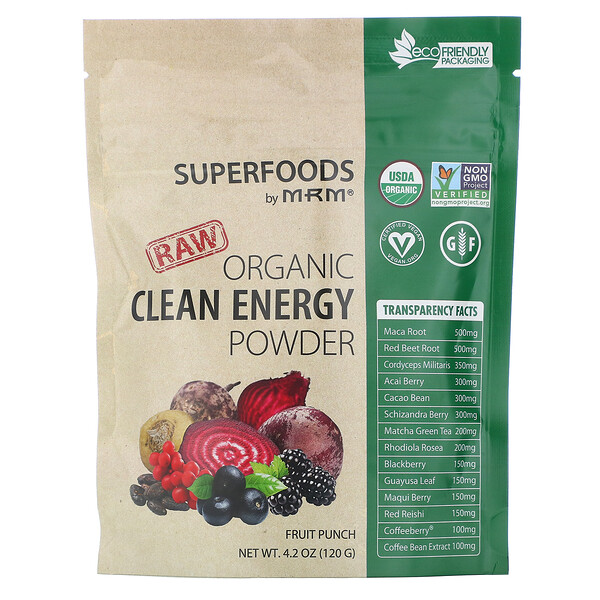 Raw Organic Clean Energy Powder, Fruit Punch, 4.2 oz (120 g)