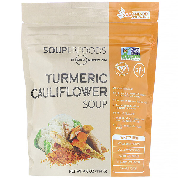 Souperfoods, Turmeric Cauliflower Soup, 4.0 oz (114 g)