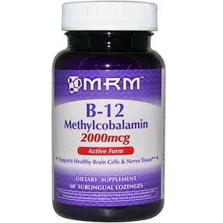 MRM, B-12, Methylcobalamin, 2000 mcg, 60 Sublingual Lozenges