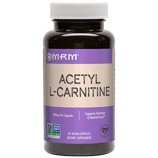 MRM, أسيتيل ل- كارنيتين، 500 ملغ، 60 كبسولة نباتية