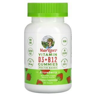 MaryRuth Organics, Vitamin D3 + B12 Gummies, Pectin Based, Strawberry, 60 Gummies