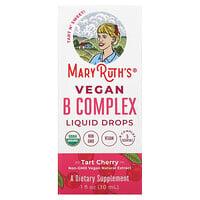 MaryRuth Organics, Vegan B Complex Liquid Drops, Tart Cherry, 1 fl oz (30 ml)