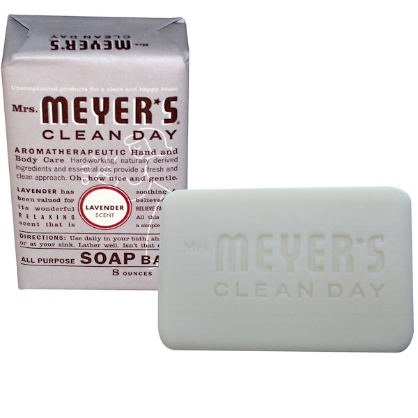 Mrs. Meyers Clean Day, All Purpose Soap Bar, Lavender Scent, 8 oz (225 g) (Discontinued Item)