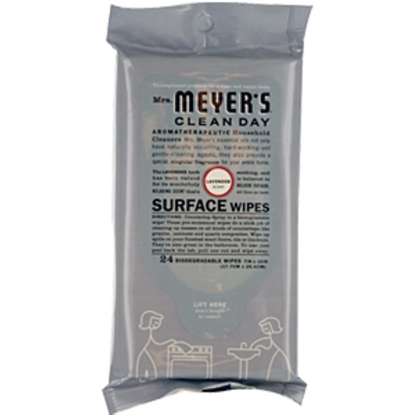 Mrs. Meyers Clean Day, Surface Wipes, Lavender Scent, 24 Wipes, 7 in X 10 in Each  (Discontinued Item)